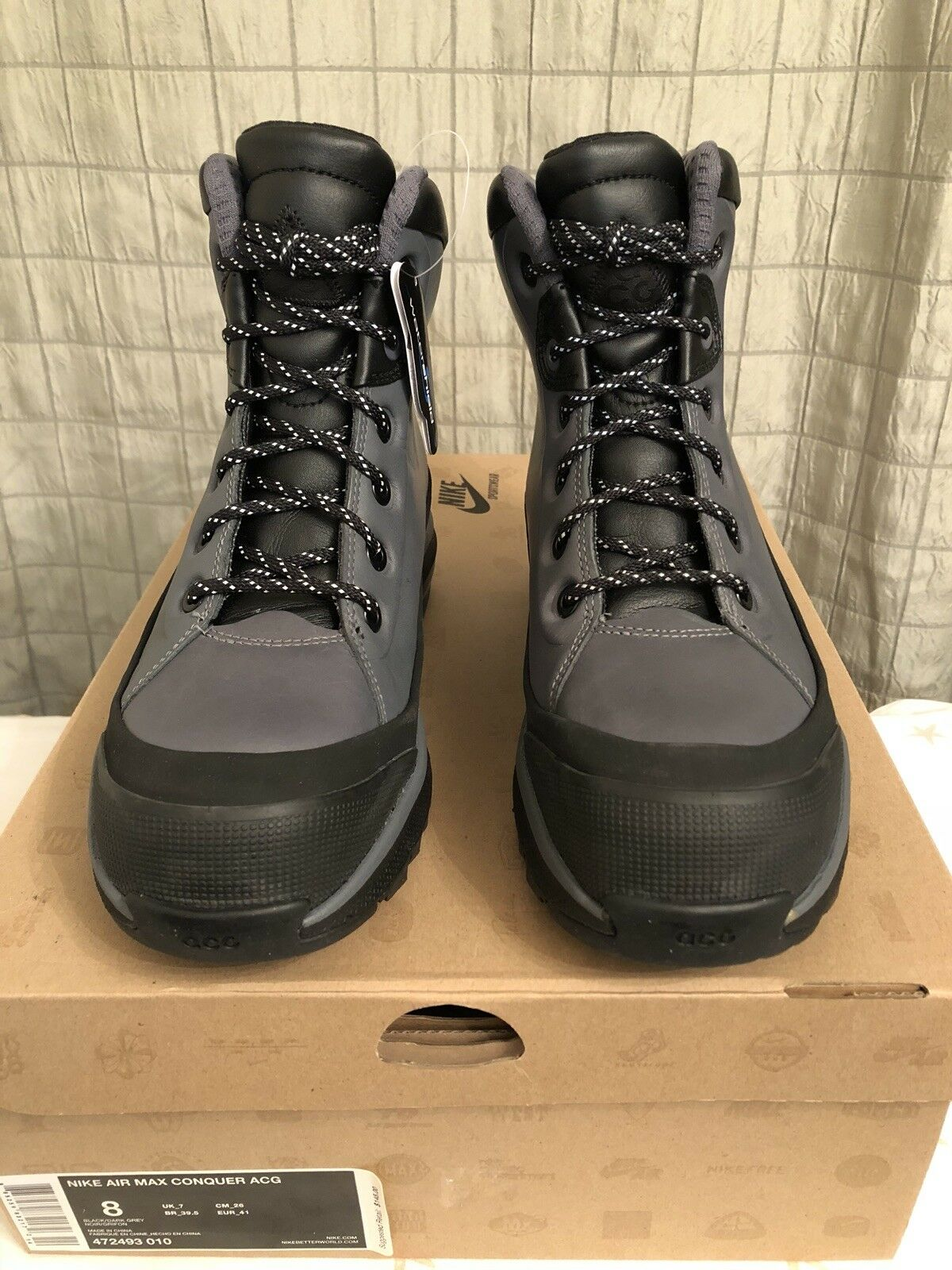 Nike Air Max Conquer ACG Boots Black Dark Grey 472493 010 Sz 8