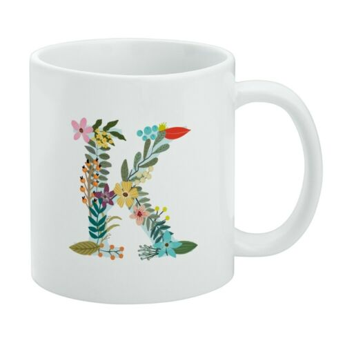 Details about  /Letter K Floral Monogram Initial White Mug