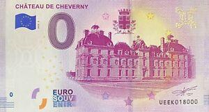 BILLET-0-EURO-CHATEAU-DE-CHEVERNY-FRANCE-2018-NUMERO-18000