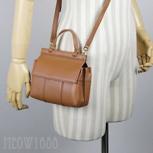 Tan Leather Mini Satchel Purse Bag