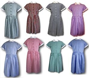 Details about Traditional School Uniform Candy Stripe & Gingham Summer Dresses Adult Sizes