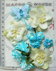 AQUA-BLUE-amp-IVORY-Mix-10-Paper-amp-Satin-Flowers-amp-1Butterfly-5Styles-20-50mm-VB2