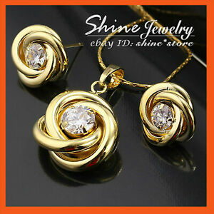 18K-GOLD-GF-S42-INFINITY-TWIST-KNOT-SOLID-NECKLACE-EARRING-SET-SIMULATED-DIAMOND