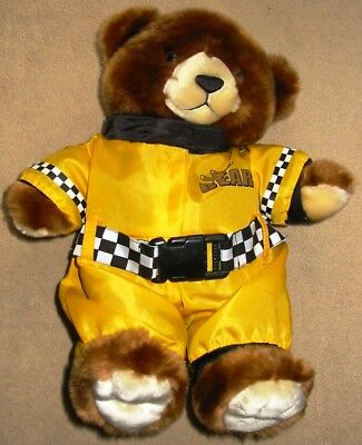 Brown Plush Teddy Bear in Yellow Race Car Driver Outfit 12 Inches | eBay