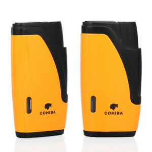 COHIBA-Black-And-Yellow-Flat-Jet-Flame-2-Torch-Cigar-Cigarette-Lighter-W-Punch