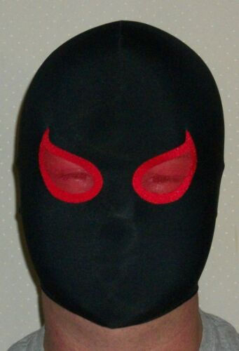 NEW BLACK RED SPANDEX MASK HALLOWEEN COSTUME PRO WRESTLING