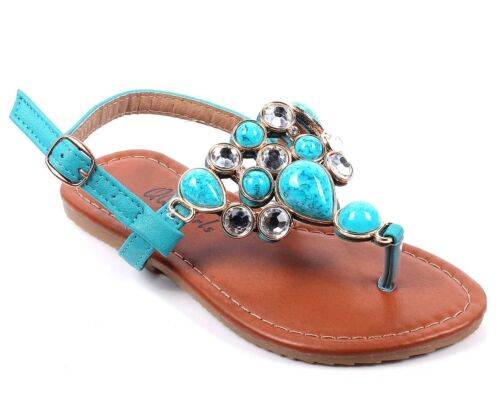 3 Color Kids Rhinestone T-Strap Buckle Girls Summer Sandals Youth Flat Shoes