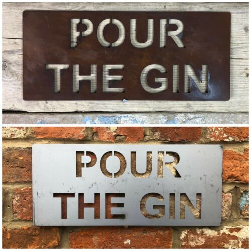 Trendy Rusted And Steel Word Signs Metal Home Rustic Bar Drinks Gin Wine Plaques