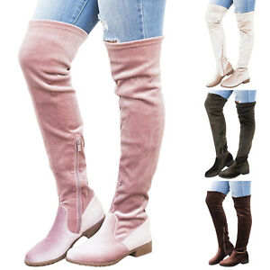 wholesale dealer 5ac35 f6e60 Details zu Damen Overknee Stiefel Stiefeletten Winterstiefel Lang Warm  Schuhe Stretch Boots