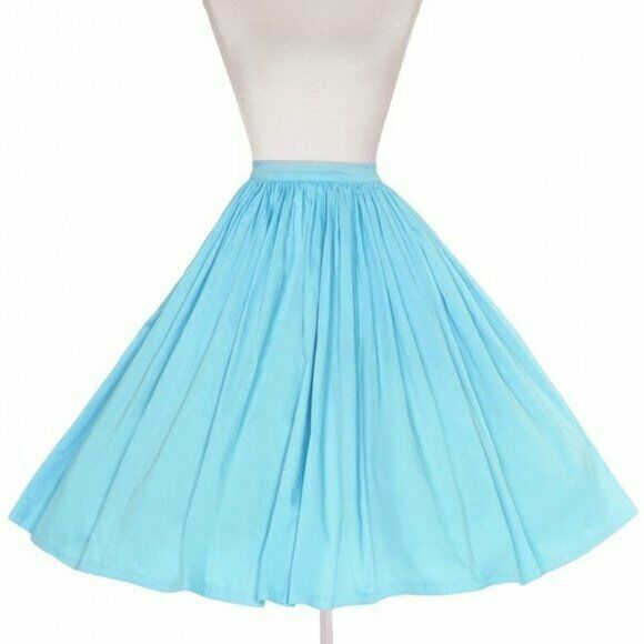 Nouveau Carlin PinUp Girl Clothing couture Jenny 50 S Full Circle Jupe Blau Ciel Medium