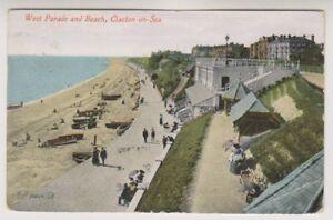 Essex-Postkarte-West-Parade-and-Beach-Clacton-on-Sea-P-U-1913-A292