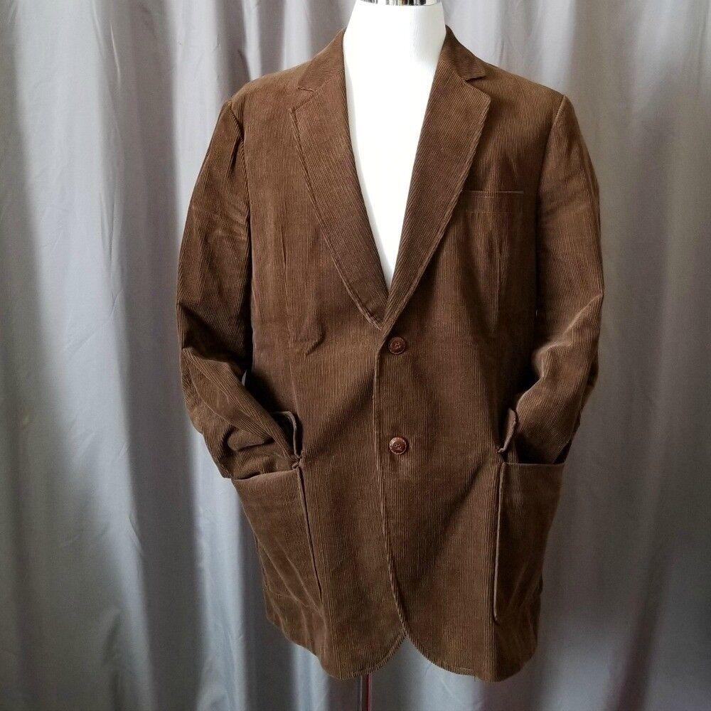 Envoy Brown Corduroy Sport Coat 40L 100% Cotton Two Button Classic Blazer