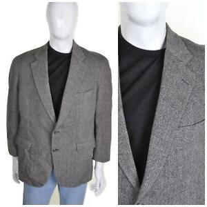 VINTAGE 60s/70s Wool Tweed Jacket L 44R Grey Herringbone Blazer Sportcoat Mod
