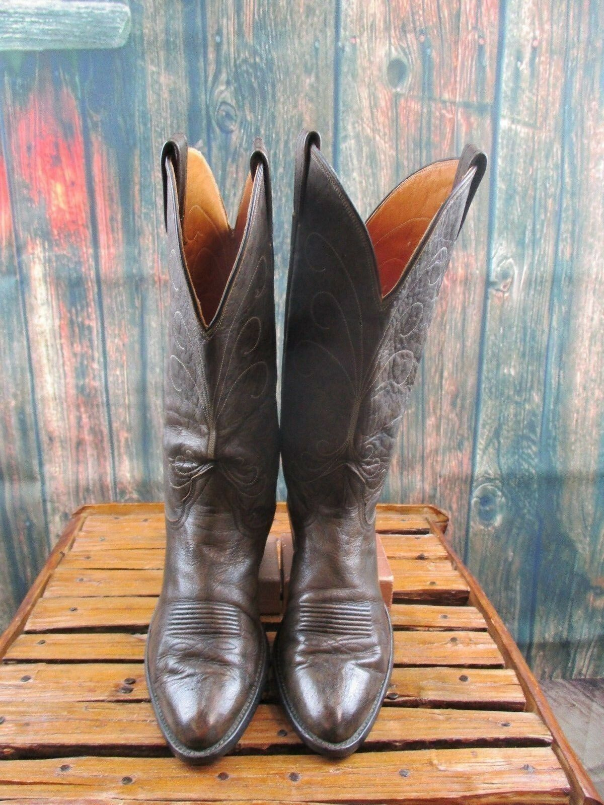 Ladies Nocona Brown Leather Cowgirl Western Boots Sz 7.5 B