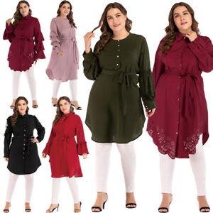 Details about Ladies Women Muslim Long Sleeve Blouse Shirt Islamic Plus Size Tops Dress Tunic