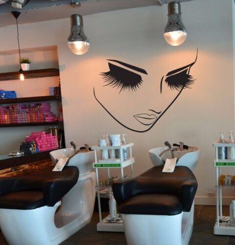 Salón de belleza Pestañas Maquillaje Cara Salón Dormitorio Pared Arte Pegatina De Vinilo V407