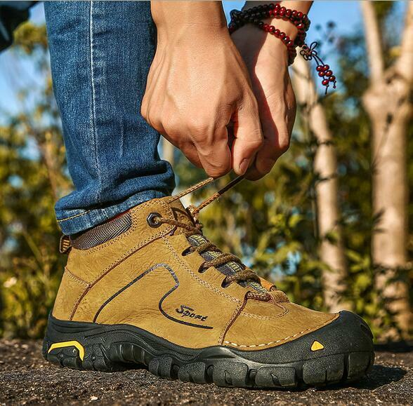 hommes Leather Fleece High Tops Hiking Outdoor Trail Climbing Chaussures Snow Bottes