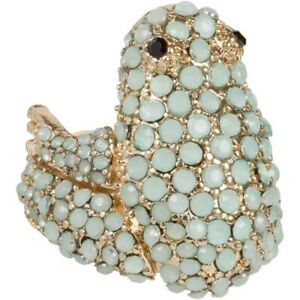 NEW-Pave-Mint-Green-Crystal-Three-Dimensional-Frog-Stretch-Ring-in-Goldtone
