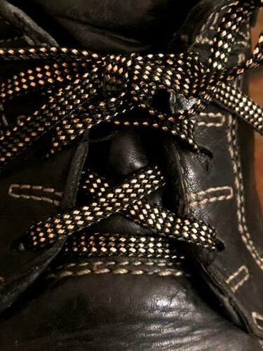 Vintage 40 Inch Black and Metalic Gold Shoe Laces 2 Pair