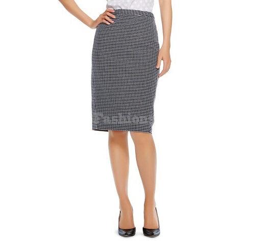 Womens Merona Black and White Plaid Polka Dot Pencil Skirt NWOT 1L12