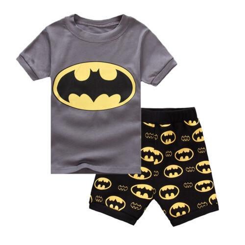 Kinder Jungen Mädchen Superheld Schlafanzug Pyjama Kurzarm Kleidung Outfits Set