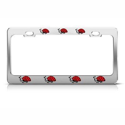 LADYBUG LADYBUGS RED Metal License Plate Frame Tag Holder Two Holes