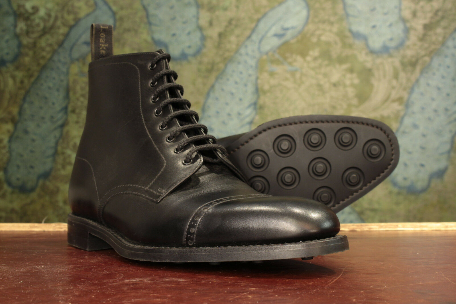 Loake 1880 Hyde Black Derby Boot 10½F - New Slight Seconds RRP £240 (16516)