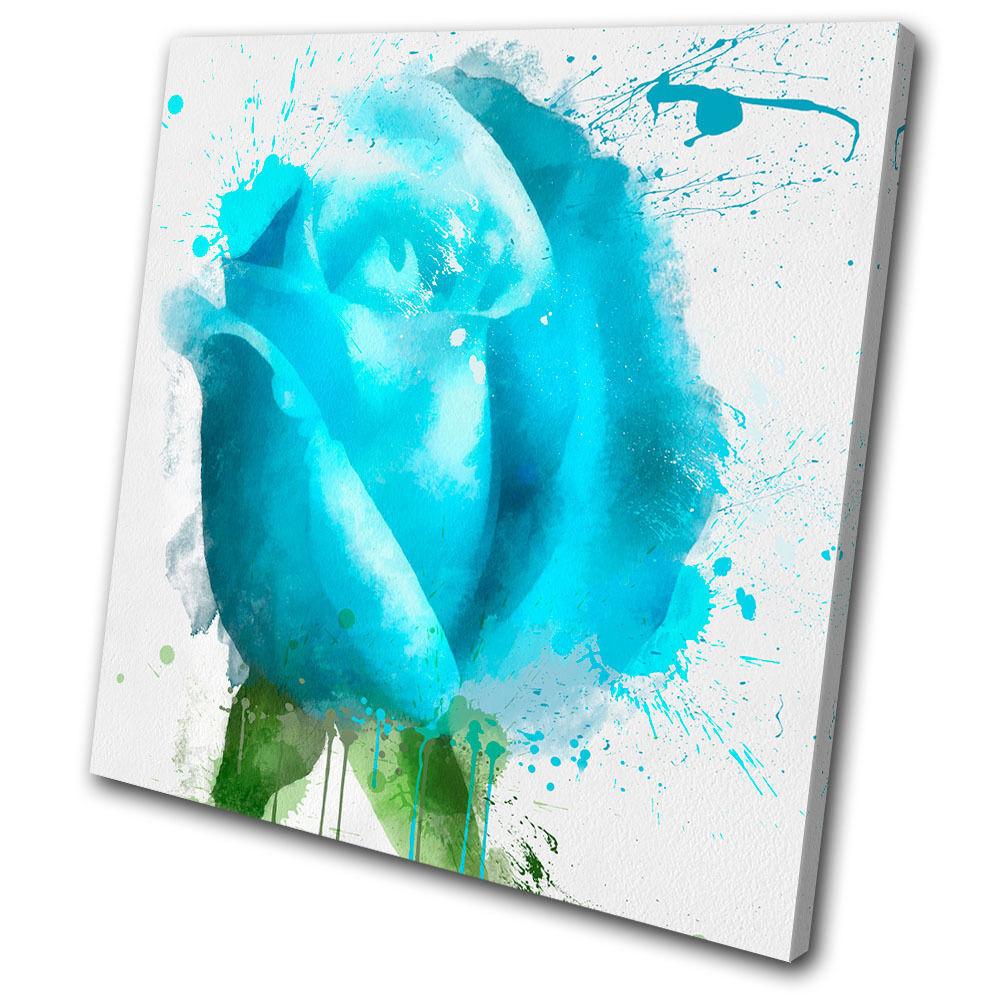 Floral bleu Rose SINGLE TOILE murale ART Photo Print