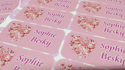 42 Personalized Waterproof Name Heart Labels Stickers Tag Kids School Shoes Book