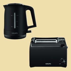 Krups-Set-ProAroma-Wasserkocher-BW-2448-Toaster-KH-1518-schwarz-matt