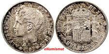Spain Alfonso XIII SILVER 1901 (01) SM-V Peseta Light Toning Nice Coin KM# 706
