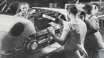 "1953 Chevrolet Assembly Line, Front End 12X18"" Black & White Picture"