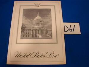 D61 VINTAGE SS UNITED STATES SHIP LINES LUNCHEON MENU SATURDAY AUGUST 22 1664