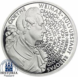 Brd 10 Dm Johann Wolfgang V Goethe 1999 Silber Spiegelglanz Münze In