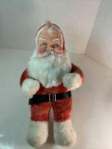 "Vintage Christmas Santa Claus Plush Stuffed Rubber Face Doll  (1950's) 18"""