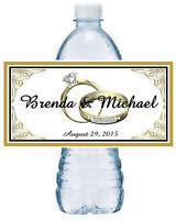 100 Personalized Gold Rings Wedding Water Bottle Labels Waterproof Ink