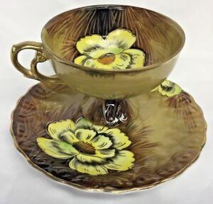 Vintage-E-W-Princess-Flower-Teacup-Saucer-Set-Hand-Painted-S-6798-Camellia-EW