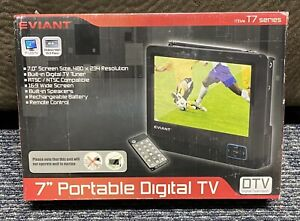 """NEW Eviant T7 7"""" LCD Portable Digital TV DTV Black w/ Remote Rechargeable NEW!"""