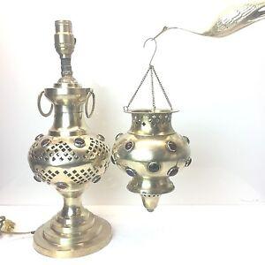 Glass-Jeweled-Ormolu-Fairy-Lamp-Genie-Pierced-Brass-Candle-Holder-Lantern-Vtg