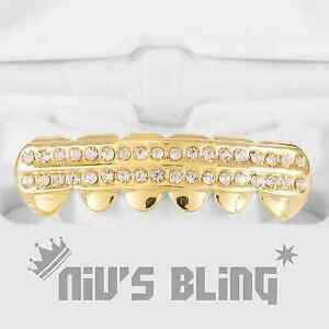 14K Gold Iced Out GRILLZ CZ Icy BOTTOM Tooth Mouth Teeth Cap Hip Hop Bling Grill