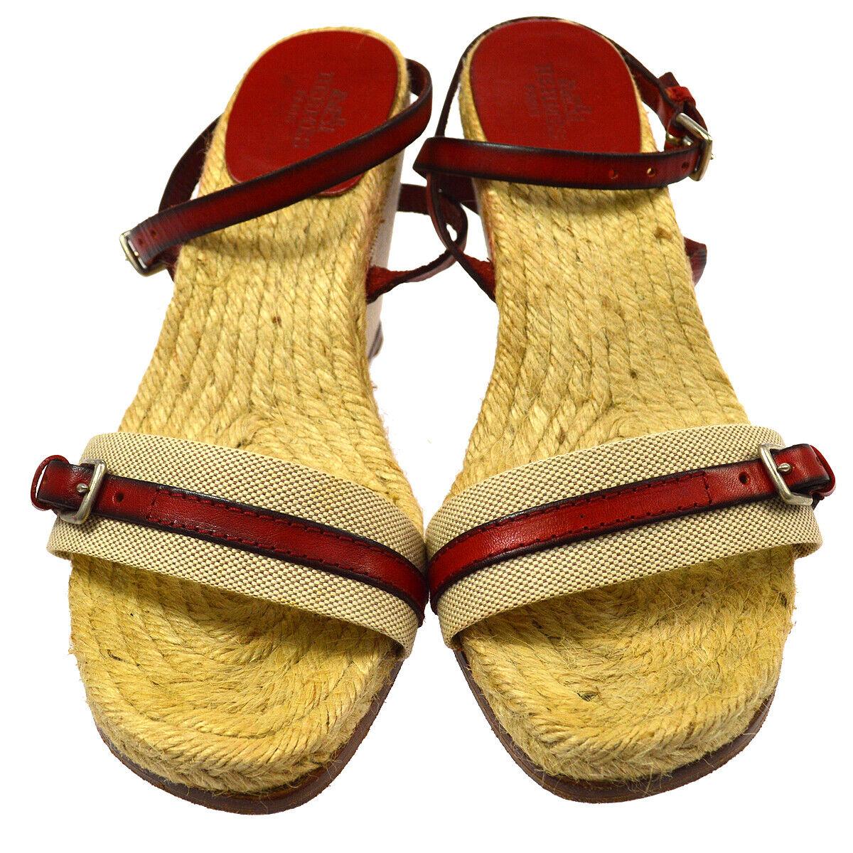 Autentici ERMES Logos Sandals scarpe Beige rosso Linen  Vintage \35; 37 AK29307  vendita di offerte