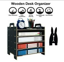 5 Tray Paper Tray Organizer Wooden Desk File Organizer Letter Tray Storage Shelf