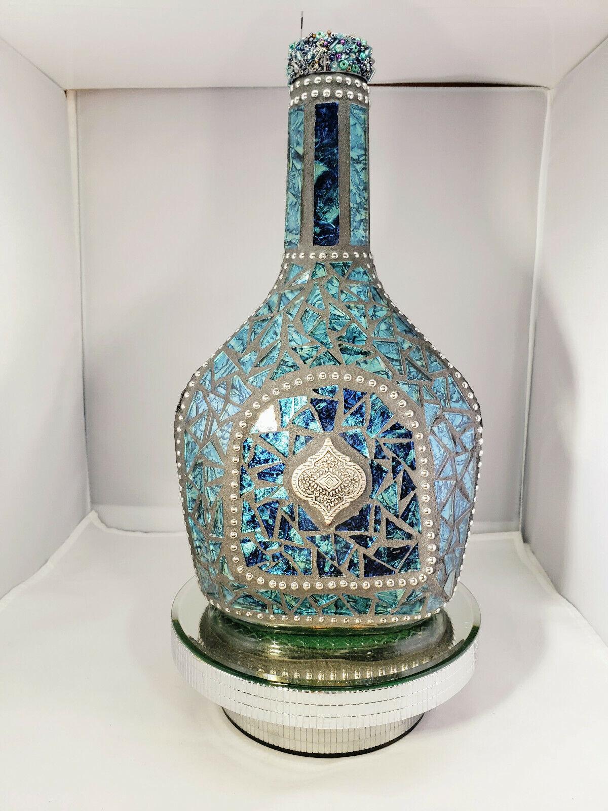 Mosaico verde azulado Botella Azul Mano Mosaico botella está diseñada para su hogar W213