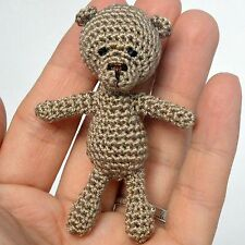 Crochet artist miniature beige teddy bear, 2in.