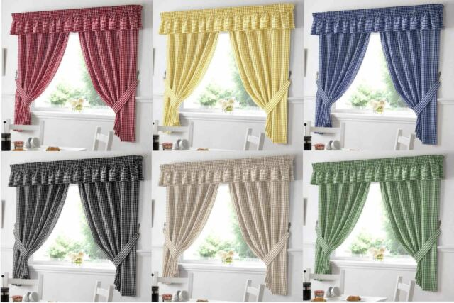 COUNTRY KITCHEN GINGHAM CURTAIN PAIR WINDOW DRAPES DINING ROOM
