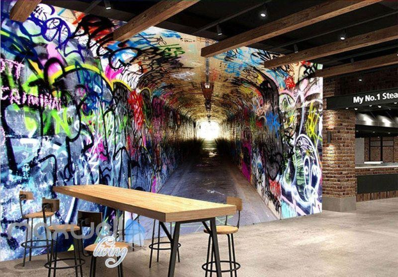 3D Graffiti Long Tunnel Letters Wall Murals Wallpaper Wall Art Prints Decals