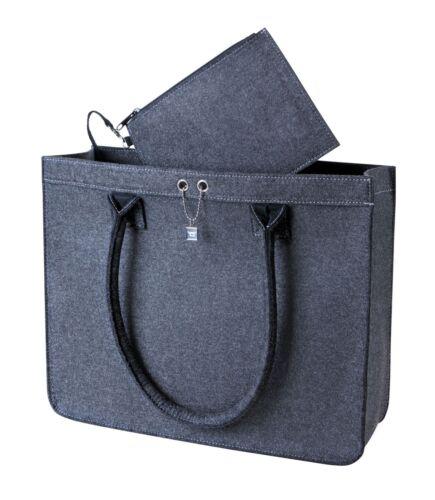 große Filz Einkaufstasche abnehmbarer Wertsachen RV Tasche♦♦Shopper♦anthrazit
