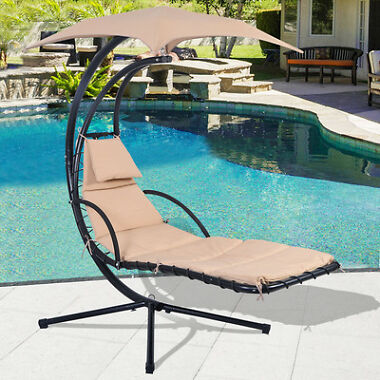 COSTWAY Hanging Chaise Lounger Hammock Chair