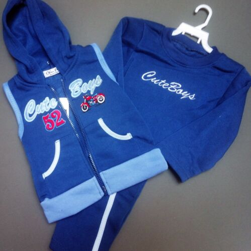 Navy Grey Blue Boy/'s Tracksuit Fleece 3 Piece Hooded Gilet Outfit Baby Set 1-5y