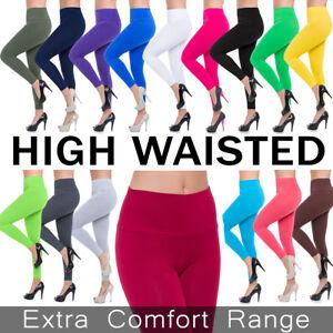 Womens-High-Waisted-Leggings-Cotton-Full-Length-Plus-Sizes-8-10-12-14-16-18-20